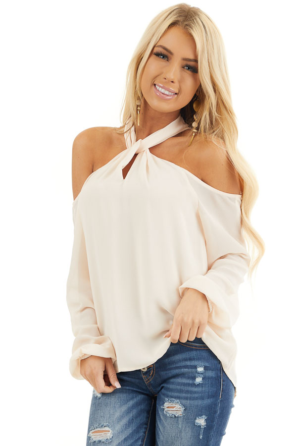 Cream Chiffon Cold Shoulder Long Sleeve Halter Top front close up