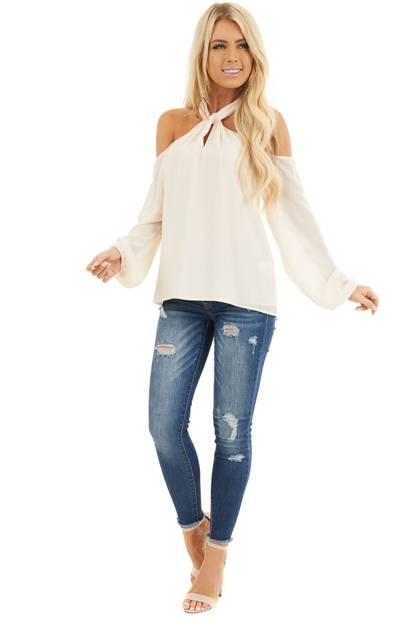 Cream Chiffon Cold Shoulder Long Sleeve Halter Top front full body