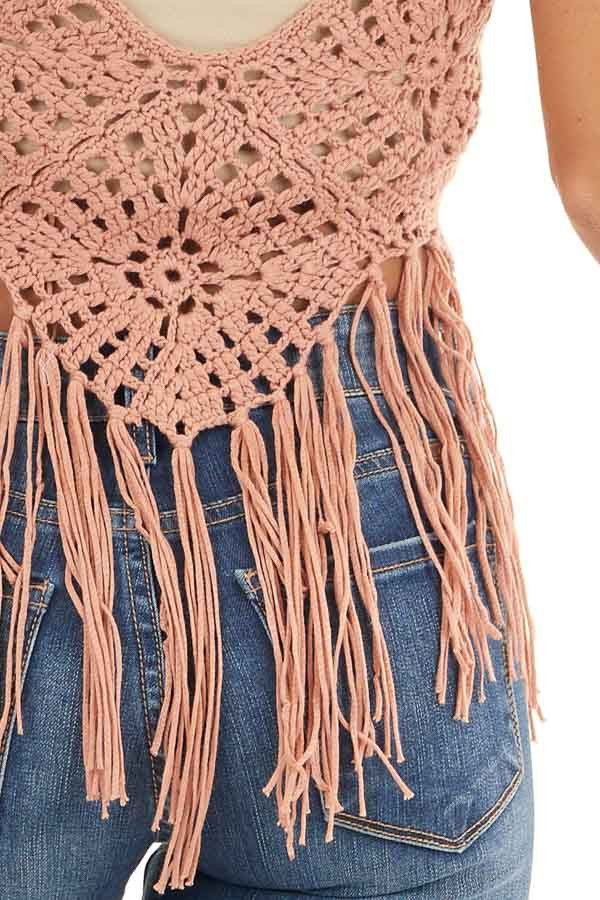 Dusty Salmon Crocheted Crop Tank Top with Fringed Hem detail