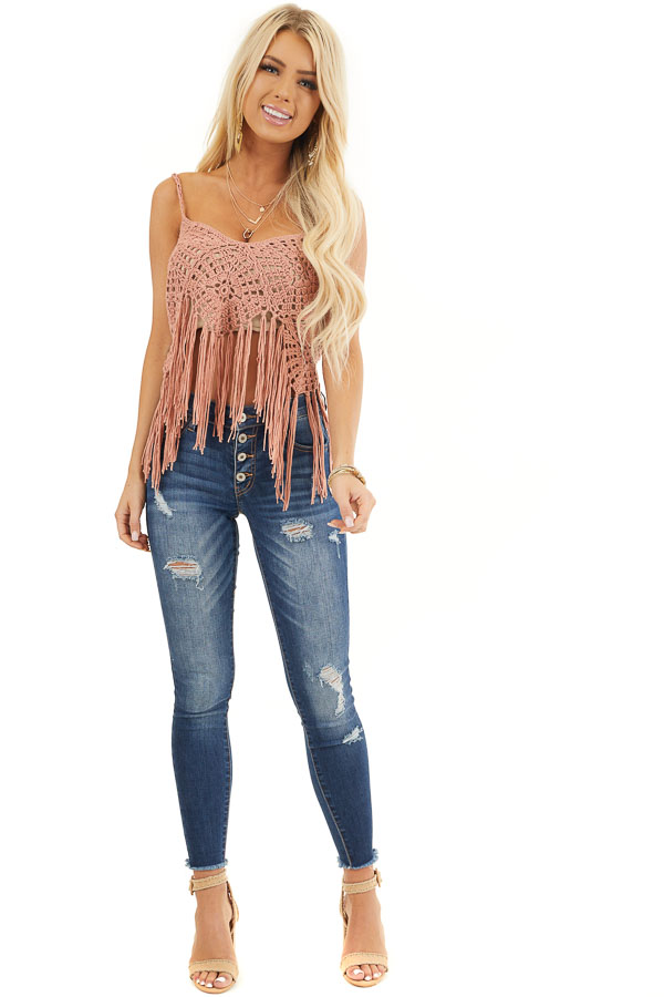Dusty Salmon Crocheted Crop Tank Top with Fringed Hem front full body