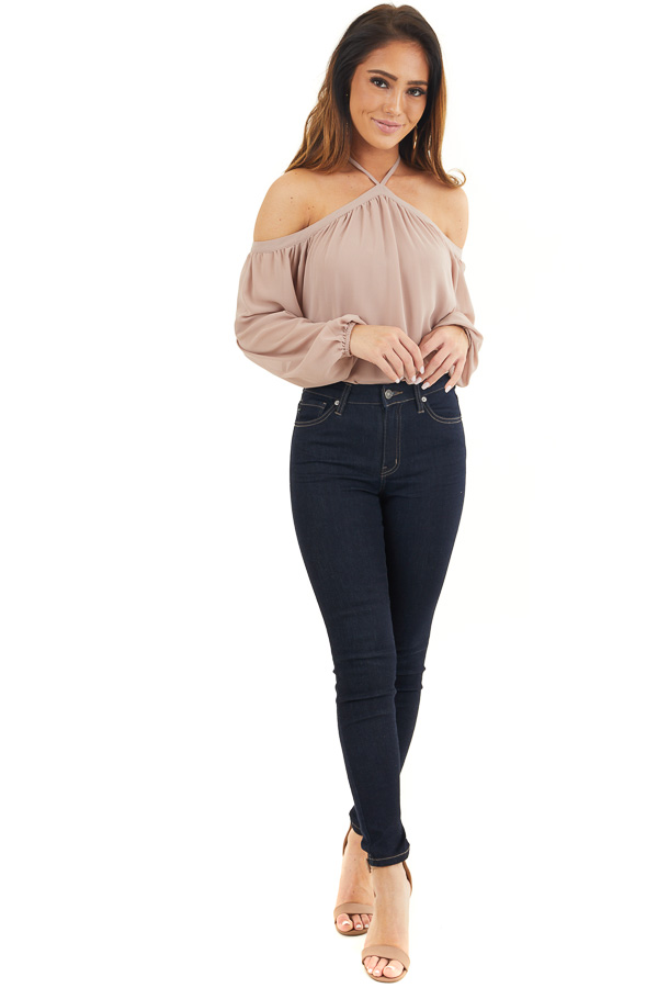 Taupe Cold Shoulder Long Sleeve Halter Top front full body