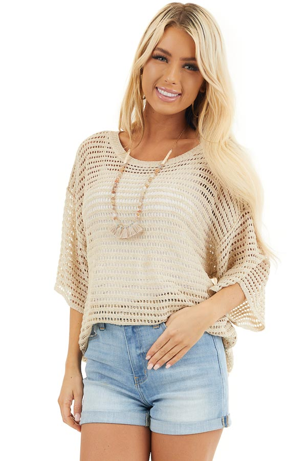 Khaki Sheer Crochet Knit Tunic Top with Short Sleeves front close up