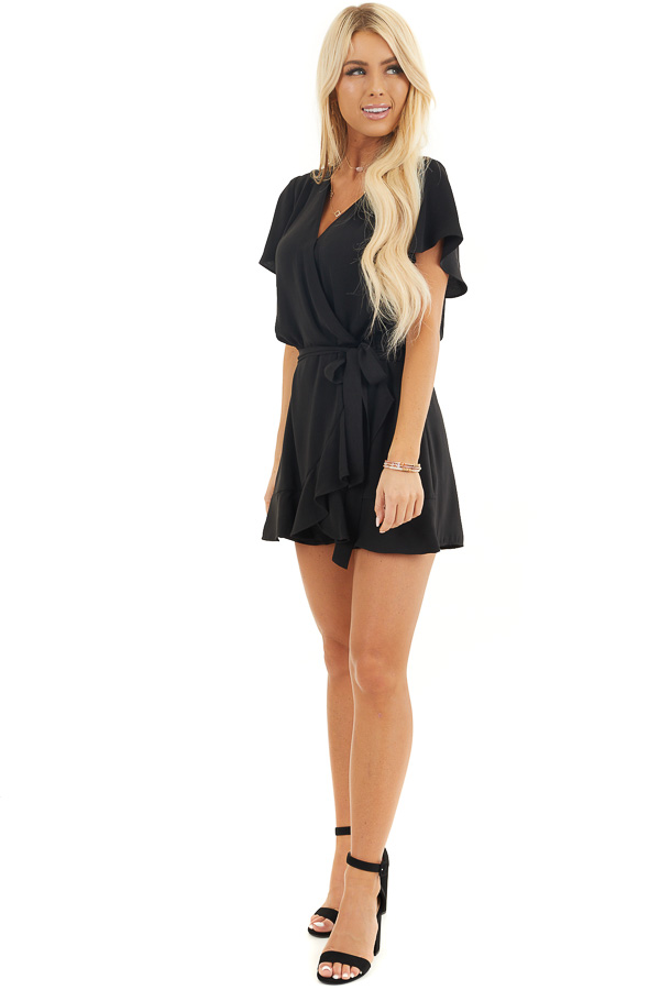 Black Surplice Romper with Faux Wrap Overlay and Tie front full body