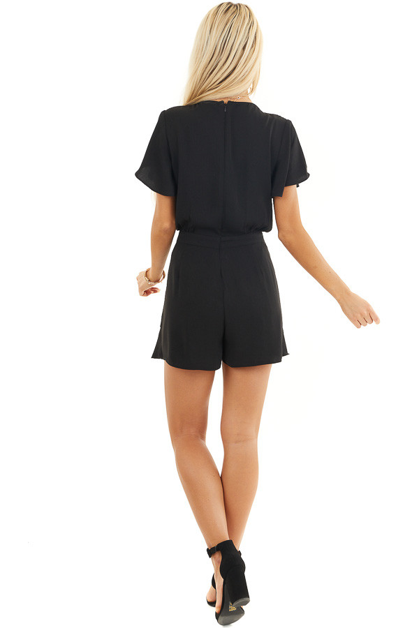 Black Surplice Romper with Faux Wrap Overlay and Tie back full body