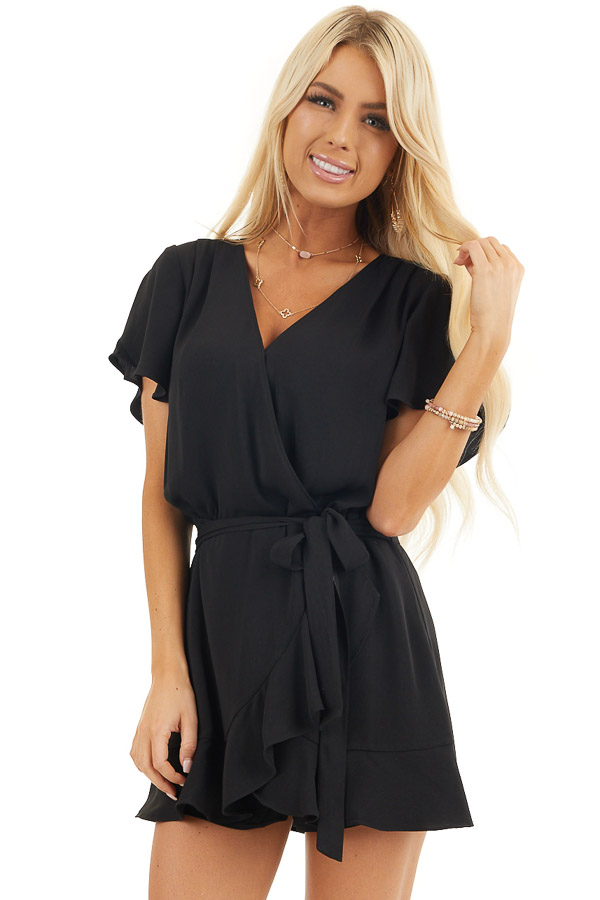 Black Surplice Romper with Faux Wrap Overlay and Tie front close up