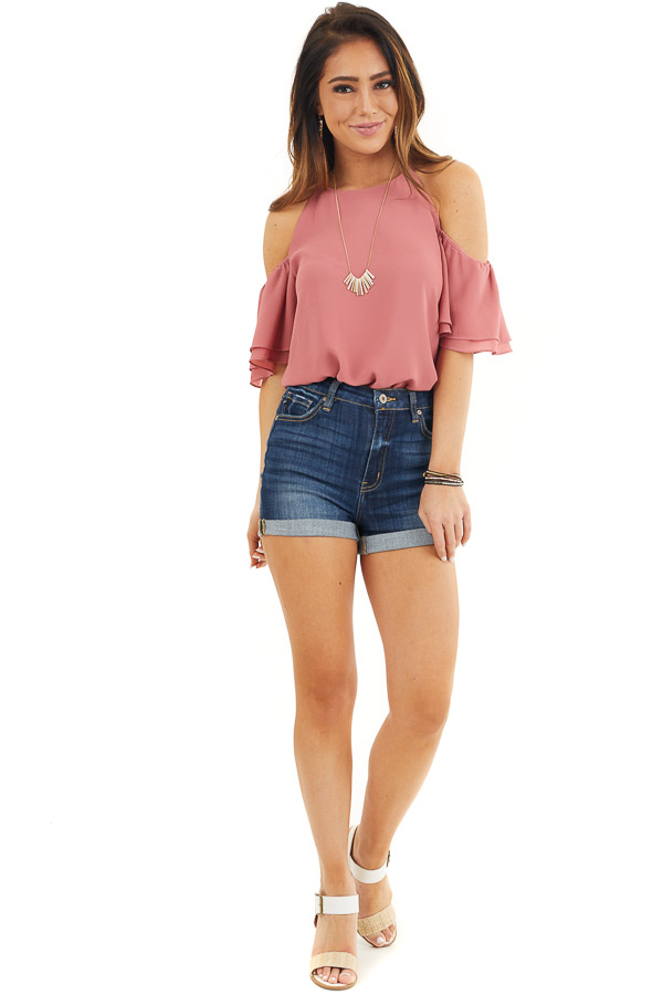 Deep Rose Cold Shoulder Woven Blouse with Ruffle Sleeves front full body