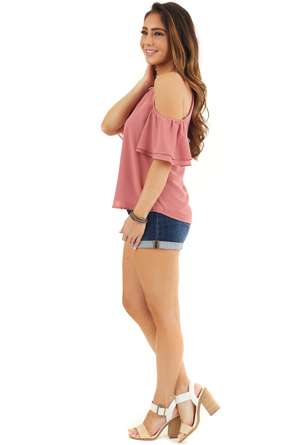 Deep Rose Cold Shoulder Woven Blouse with Ruffle Sleeves side full body