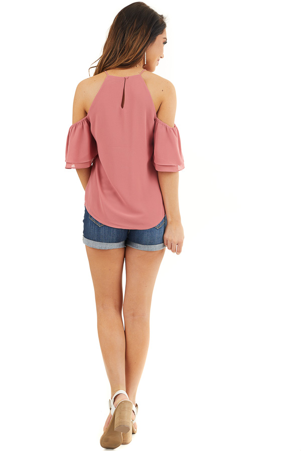 Deep Rose Cold Shoulder Woven Blouse with Ruffle Sleeves back full body
