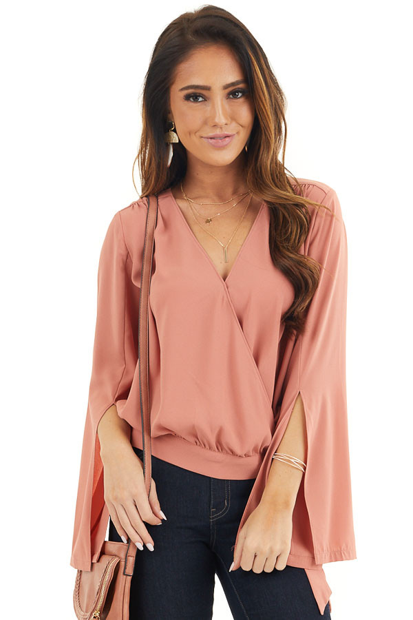 Terracotta Long Sleeve Wrap Blouse with Side Tie front close up