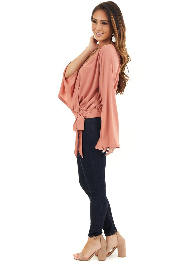 Terracotta Long Sleeve Wrap Blouse with Side Tie side full body