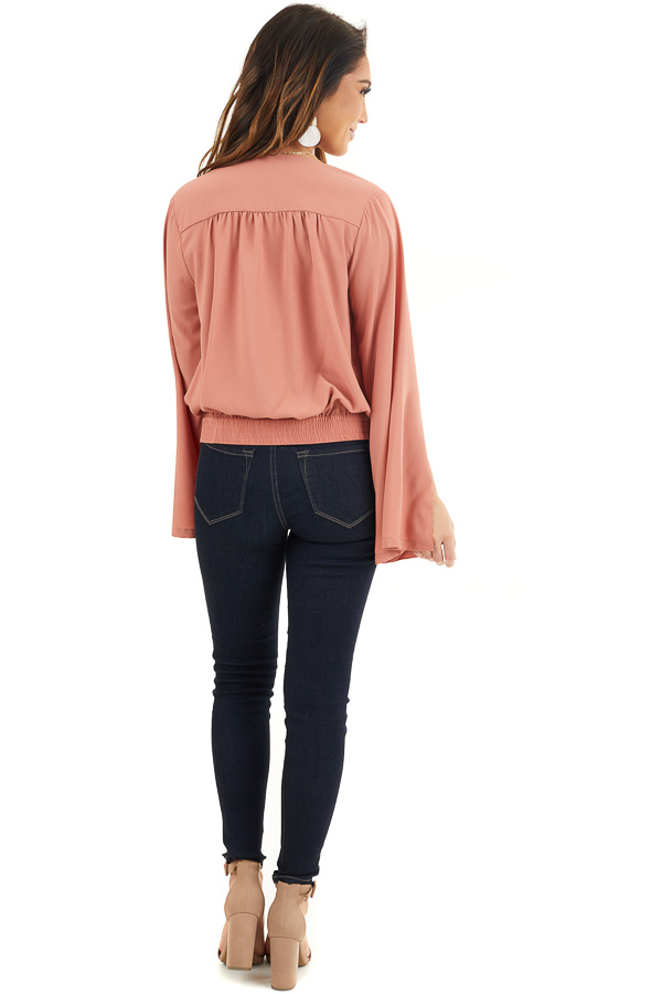 Terracotta Long Sleeve Wrap Blouse with Side Tie back full body