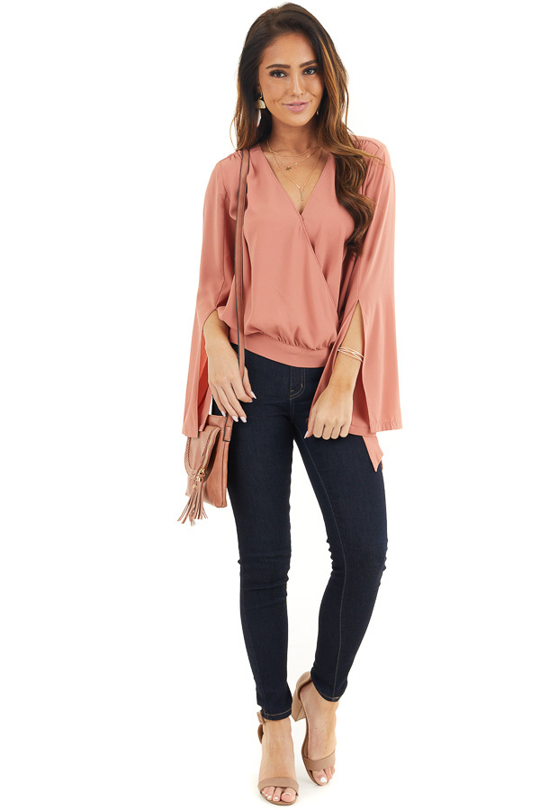 Terracotta Long Sleeve Wrap Blouse with Side Tie front full body