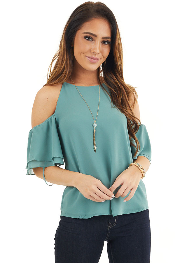 Deep Sage Cold Shoulder Woven Blouse with Ruffle Sleeves front close up