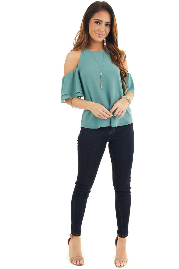 Deep Sage Cold Shoulder Woven Blouse with Ruffle Sleeves front full body