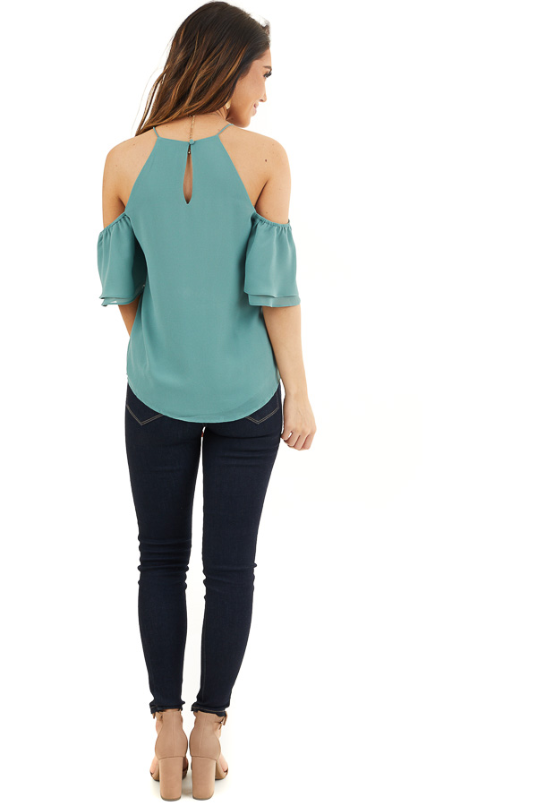 Deep Sage Cold Shoulder Woven Blouse with Ruffle Sleeves back full body