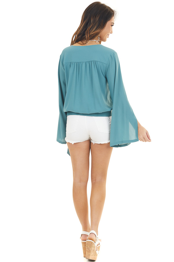 Deep Teal Long Sleeve Wrap Blouse with Side Tie back full body