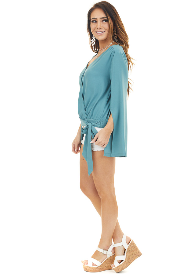 Deep Teal Long Sleeve Wrap Blouse with Side Tie side full body