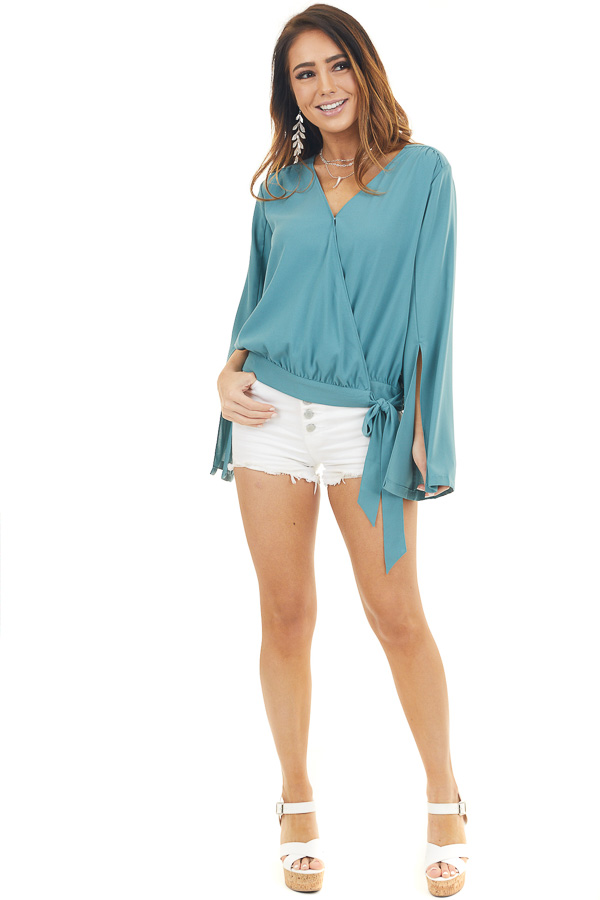 Deep Teal Long Sleeve Wrap Blouse with Side Tie front full body