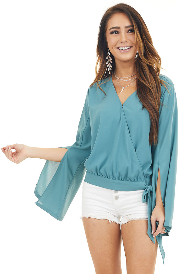 Deep Teal Long Sleeve Wrap Blouse with Side Tie front close up