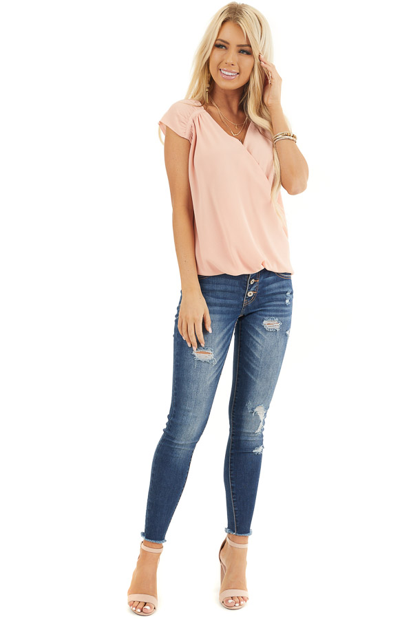 Blush Short Cap Sleeve Surplice Blouse with Bubble Hemline front full body