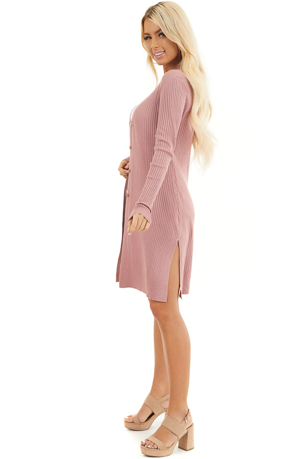 Dusty Blush Button Up Ribbed Cardigan with Long Sleeves side full body