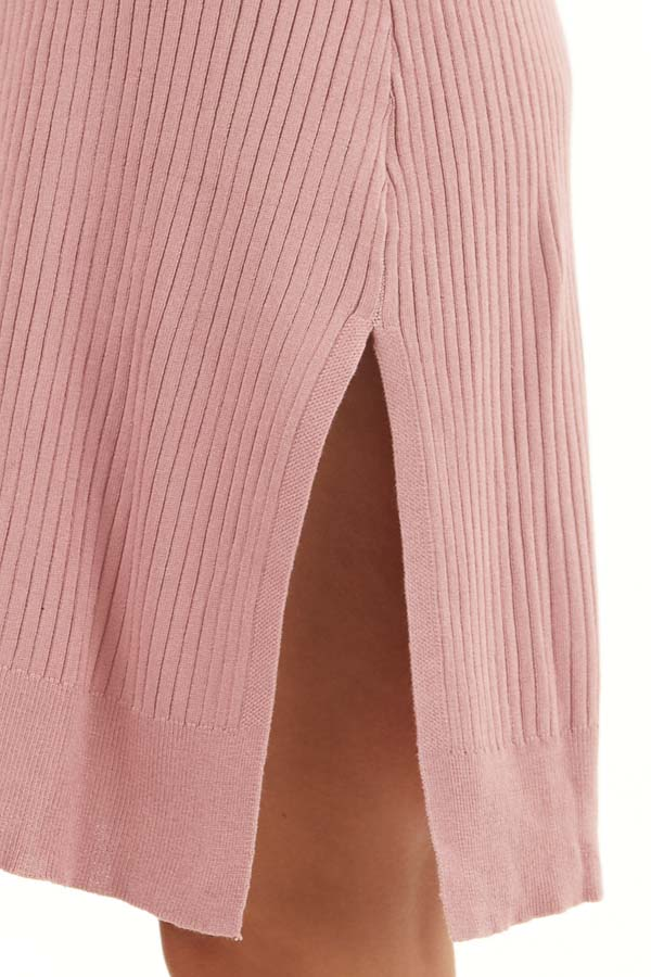 Dusty Blush Button Up Ribbed Cardigan with Long Sleeves detail