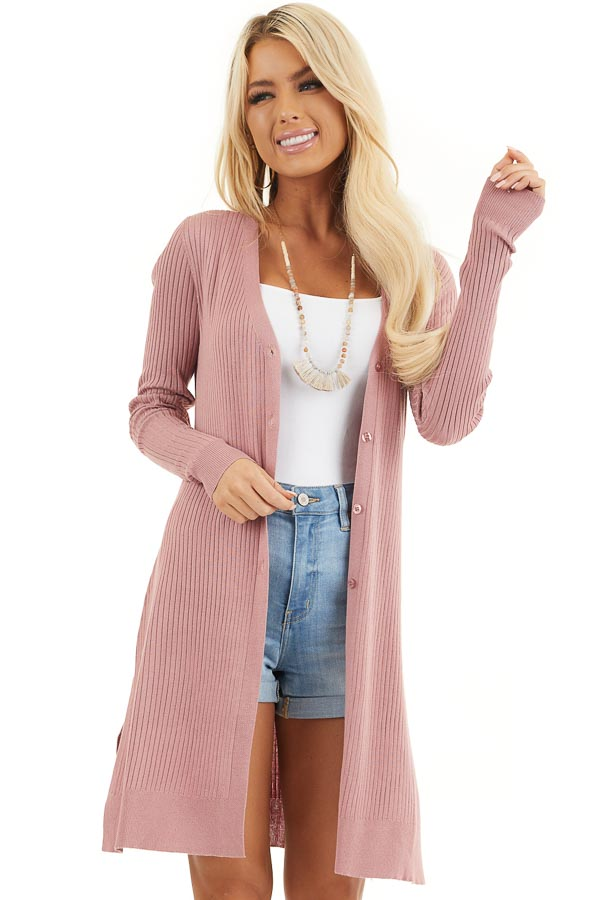 Dusty Blush Button Up Ribbed Cardigan with Long Sleeves front close up