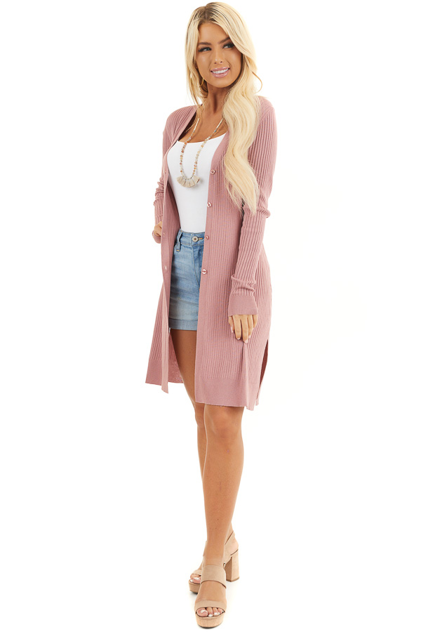 Dusty Blush Button Up Ribbed Cardigan with Long Sleeves front full body