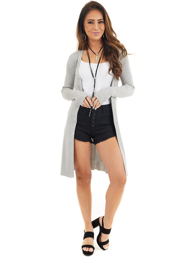 Silver Grey Button Up Ribbed Cardigan with Long Sleeves front full body