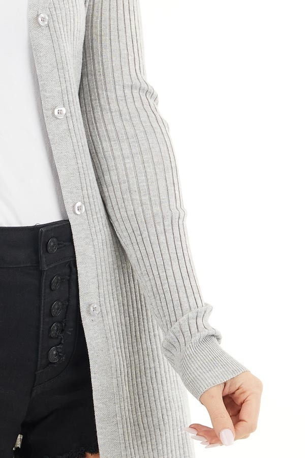 Silver Grey Button Up Ribbed Cardigan with Long Sleeves detail