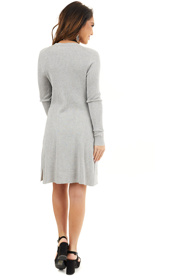 Silver Grey Button Up Ribbed Cardigan with Long Sleeves back full body