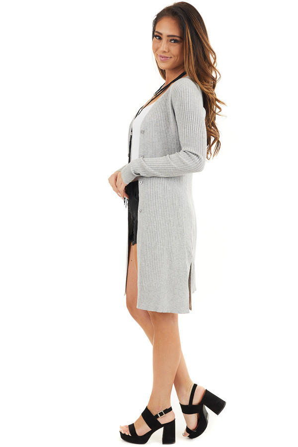 Silver Grey Button Up Ribbed Cardigan with Long Sleeves side full body