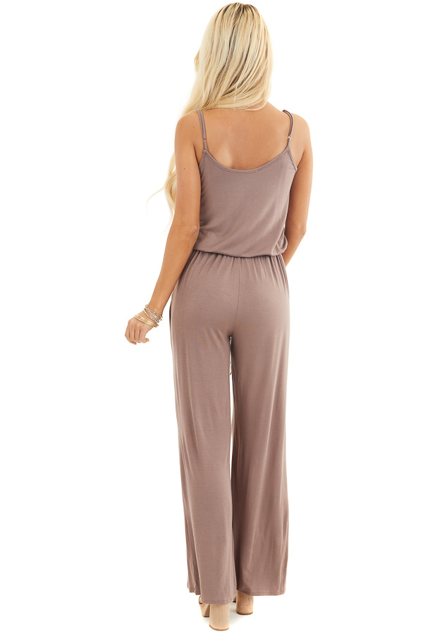 Mocha Sleeveless Jumpsuit with Waist Tie and Pockets back full body
