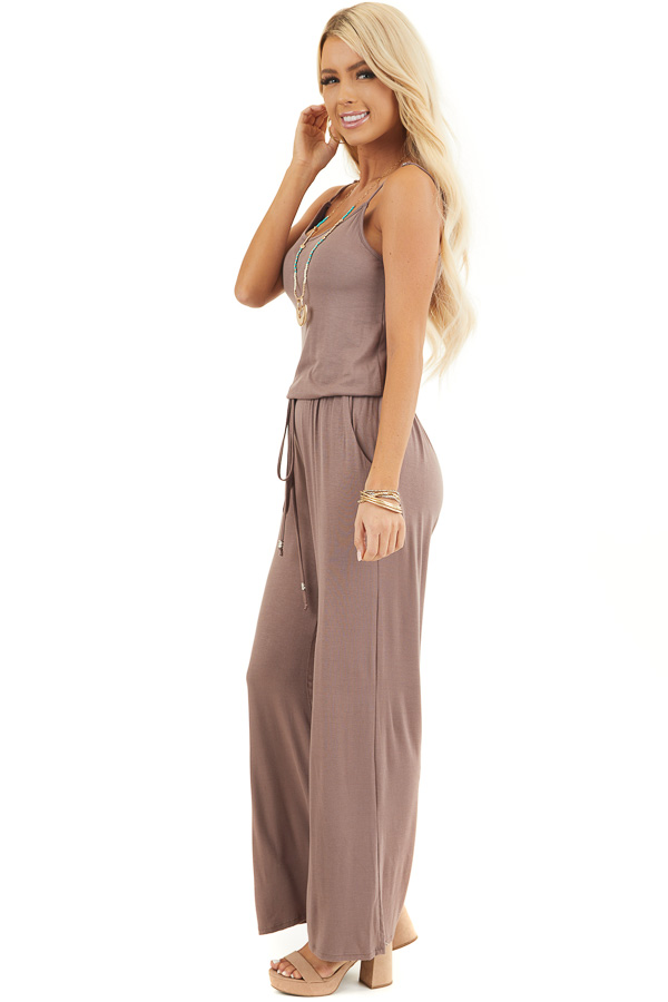 Mocha Sleeveless Jumpsuit with Waist Tie and Pockets side full body