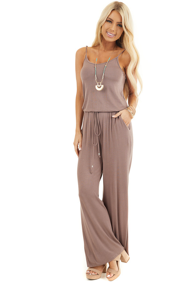 Mocha Sleeveless Jumpsuit with Waist Tie and Pockets front full body