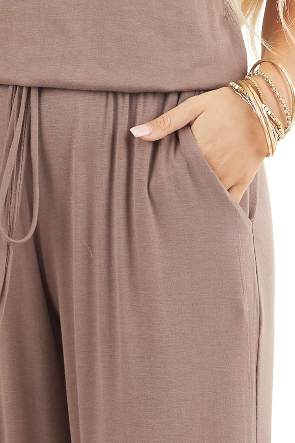 Mocha Sleeveless Jumpsuit with Waist Tie and Pockets detail