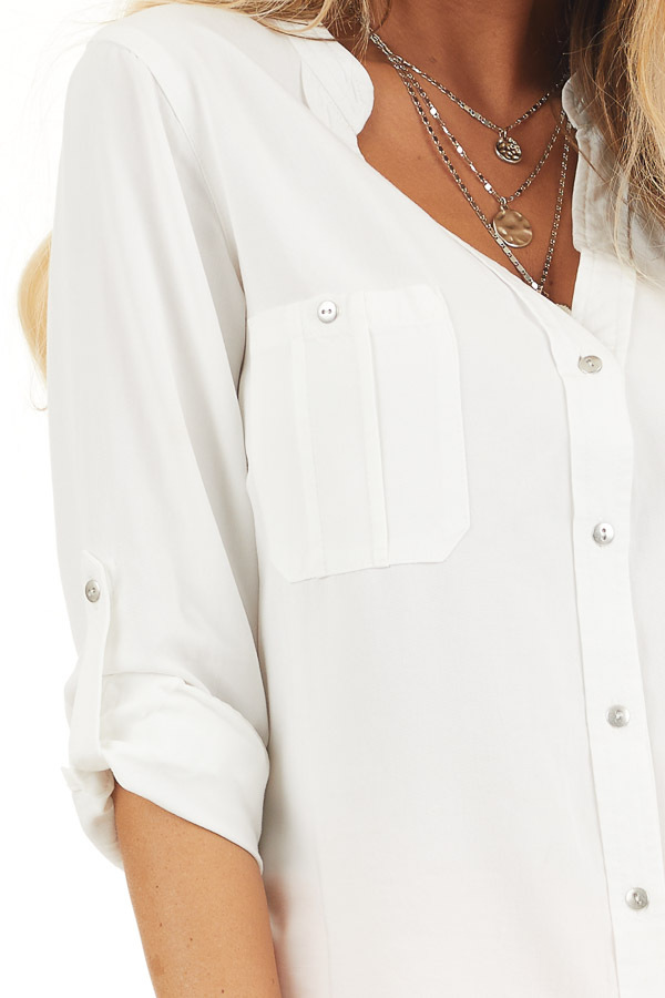 White Button Up Blouse with Roll Up Sleeves and Pockets detail