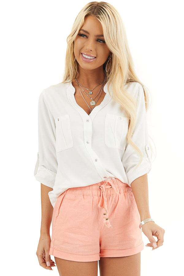 White Button Up Blouse with Roll Up Sleeves and Pockets front close up