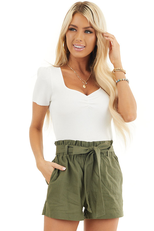 White Rib Knit Short Sleeve Crop Top with Diamond Neckline front close up
