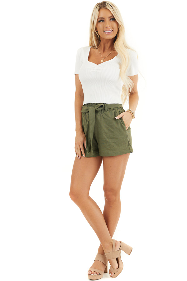 White Rib Knit Short Sleeve Crop Top with Diamond Neckline front full body