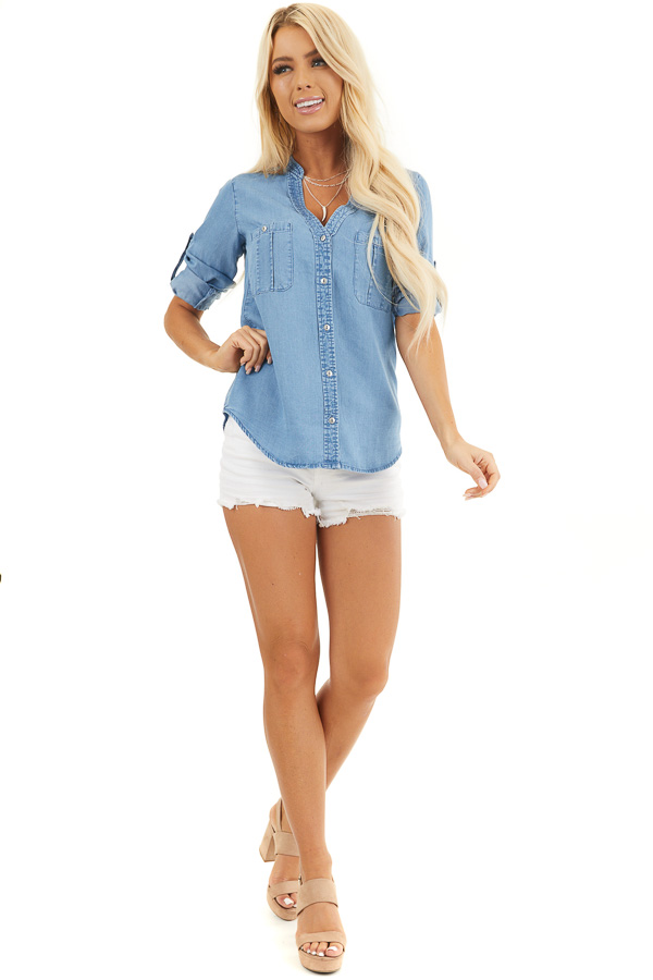 Denim Button Up Blouse with Roll Up Sleeves and Pockets front full body