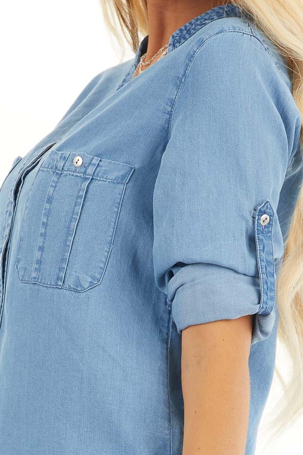 Denim Button Up Blouse with Roll Up Sleeves and Pockets detail