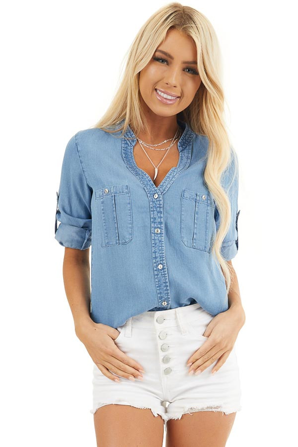 Denim Button Up Blouse with Roll Up Sleeves and Pockets front close up