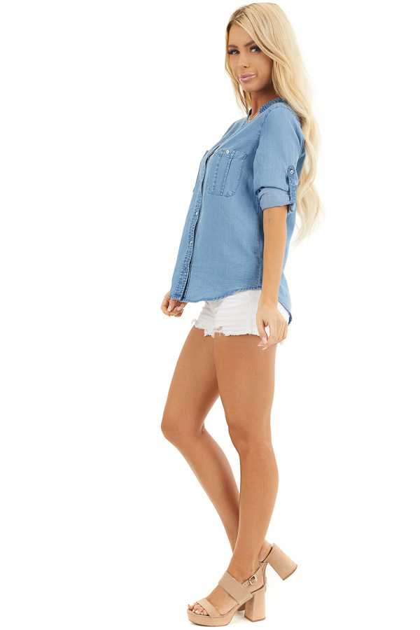 Denim Button Up Blouse with Roll Up Sleeves and Pockets side full body