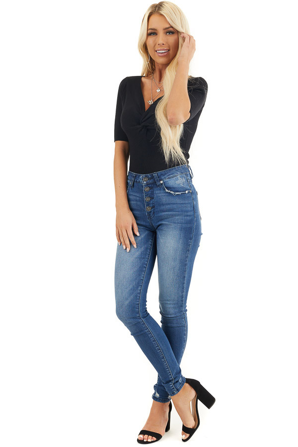 Black Ribbed Knit Short Sleeve Bodysuit with Front Twist front full body
