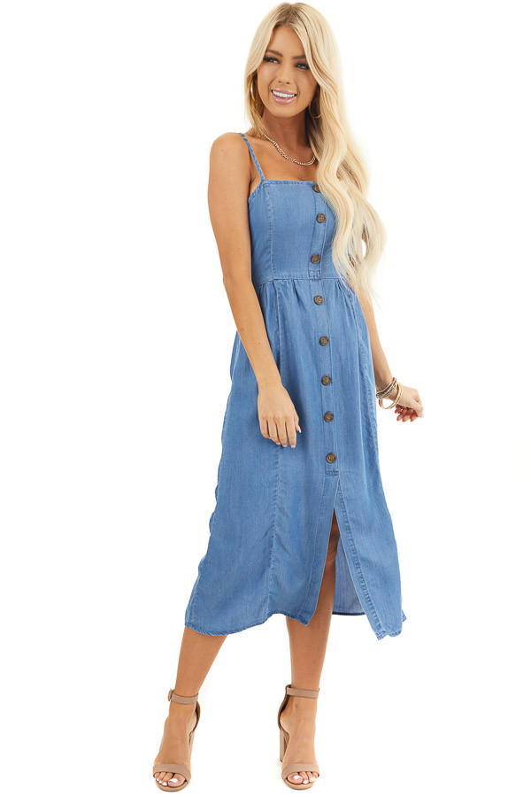 Denim Blue Sleeveless Chambray Midi Dress with Button Details front full body