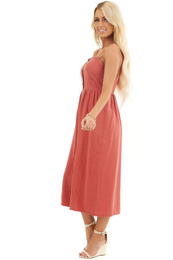 Tomato Sleeveless Chambray Midi Dress with Button Details side full body