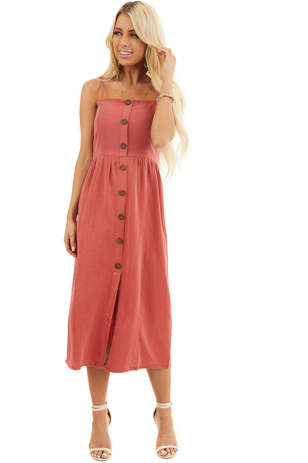 Tomato Sleeveless Chambray Midi Dress with Button Details front full body