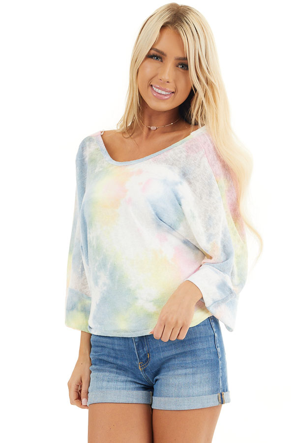 Rainbow Tie Dye Short Sleeve Open Back Crop Top with Tie front close up