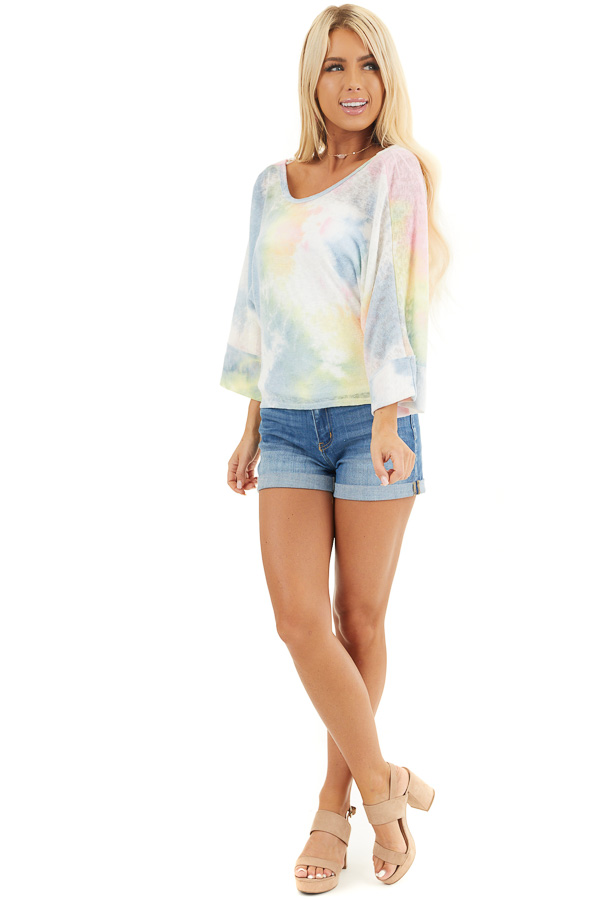 Rainbow Tie Dye Short Sleeve Open Back Crop Top with Tie front full body